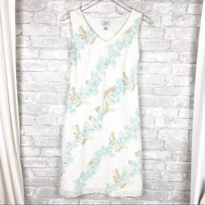 LOFT Ivory Floral Linen Blend Sleeveless Dress